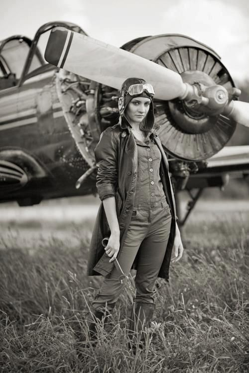 "This photo is usually captioned as WWl or vintage aviation: it is not a vintage photo ,not from WWl or any war, not the first woman mechanic or anything like that - this is a modern photo and a good photo. Nothing wrong with staging ""vintage"" photos or re-enactments, but there are plenty of ""real"" old photos of ""real"" old times. Click through photo for her name."