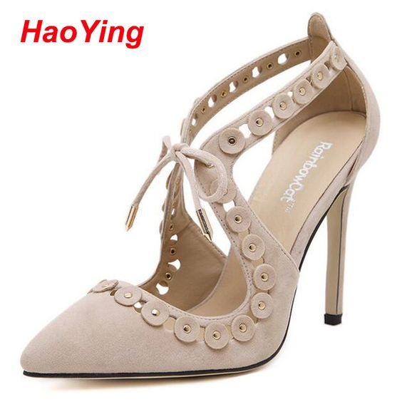 sexy High Heels potined Toe nude pumps Gladiator Sandals Women bride shoes sandalias femininas flower pumps lace up Sandals D407 alishoppbrasil