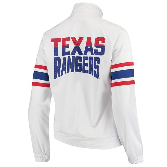 Women S G Iii 4her By Carl Banks White Texas Rangers Game Score Full Zip Track Jacket In 2020 Track Jackets Texas Rangers Texas Rangers Game