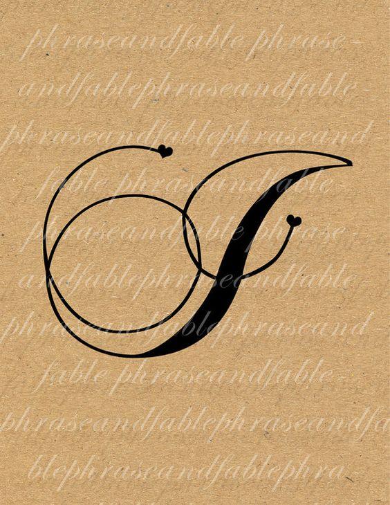 Letter j hearts 280 digital download alphabet initial name for Letter j tattoo