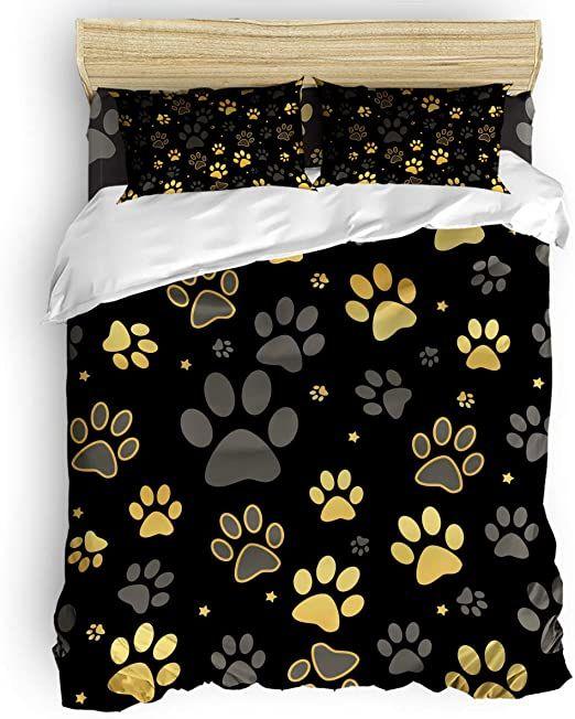 Wanxinfu 4 Piece Bedding Set Full Size Cartoon Funny Dog Paw Print 4 Pcs Duvet Cover Set Comforter Cover B Full Bedding Sets Comforter Cover Duvet Cover Sets