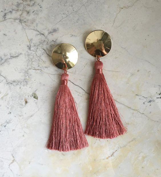 Tassel Earrings. Coral Pink. Pantone Dusty by MissCAlexandria