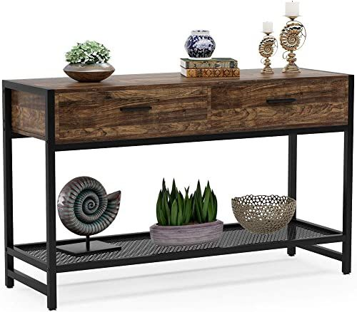 The Tribesigns Rustic Sofa Table Drawers 47 Inch Industrial Console Table Entry Table Tv Stand Media Console Storage Shelves Living Room Entryway Hallway Foyer Online Shopping In 2020 Rustic Sofa Tables
