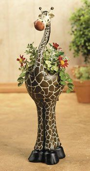 New Giraffe Flowerpot Planter Safari Home Decor