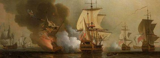 """La bataille de Baru recréée par le peintre Samuel Scott. Le vaisseau espagnol""""San José"""" coulé par la marine anglaise en 1708 avec une cargaison de métaux et pierres précieuses (1 milliard d'euros)"""