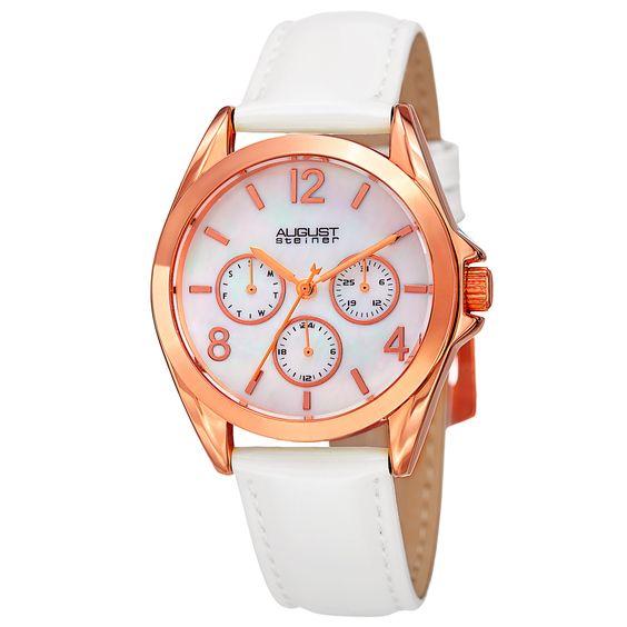 August Steiner Women's Japanese Quartz 24-Hour Indicator Multifunction Strap Watch