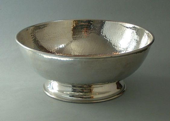 """9"""" Footed Bowl, Planished Pewter"""