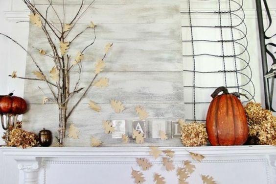 Herbst Dekoration Baum Kürbis Papier