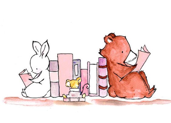 Book Lovers. Archival Print. Pinky Pink