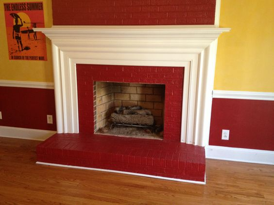 I see some interesting things. The painted red fireplace was a first. My client said that with the matching yellow walls they must have a Ronald McDonald fetish.