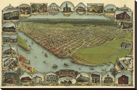 24x36 Bird/'s Eye View 1902 Eureka California Vintage Style City Map