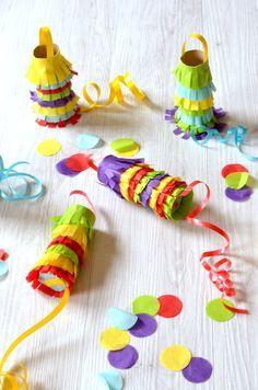 DIY : Fabriquer des mini piñatas pour les enfants avec des rouleaux d'essuie-tout #anniversaire #enfants #diy #fete #okayzine #essuietout #rouleaux