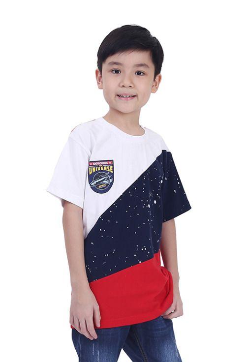 Kaos Anak Laki Laki T 0802 Cotton Combed Putih Kombinasi Kaos