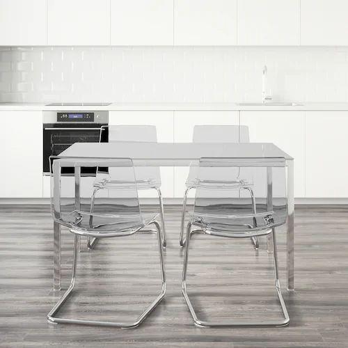 Torsby Tobias Table And 4 Chairs Glass White Transparent Length 135 Cm Ikea Table En Verre 4 Chaises Plateau De Table