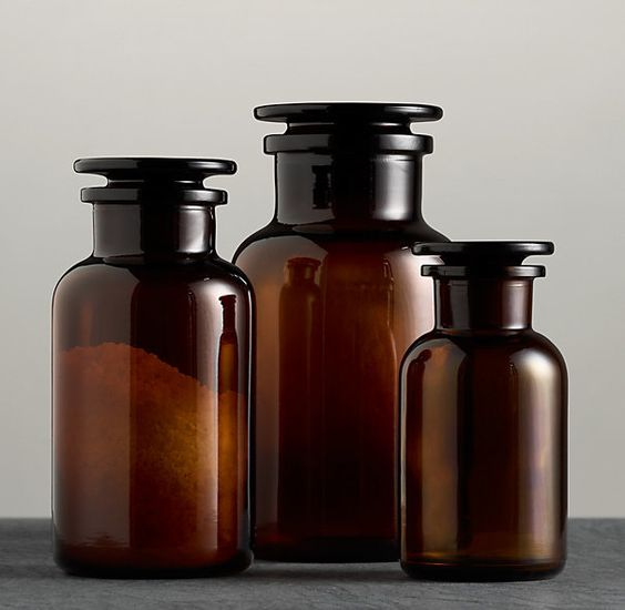 Amber glass pharmacy bottles