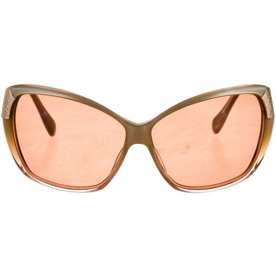 Pre-owned Judith Leiber Oversize Sunglasses ($125) ❤ liked on Polyvore featuring accessories, eyewear, sunglasses, neutrals, judith leiber, brown lens sunglasses, judith leiber sunglasses, oversized sunglasses and metallic sunglasses