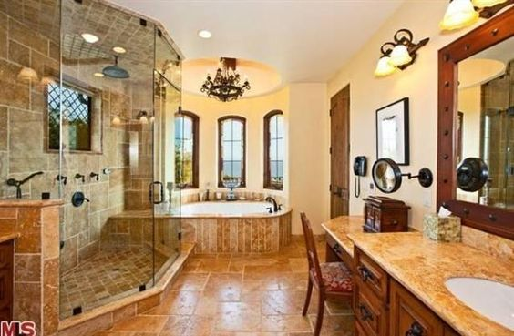Bathroom master bathrooms and spanish style on pinterest for Spanish style bathroom