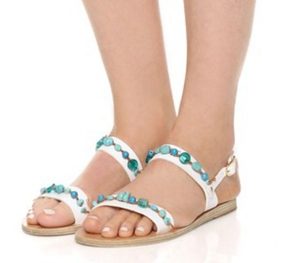 White Leather and Aqua Beaded Greek Sandals