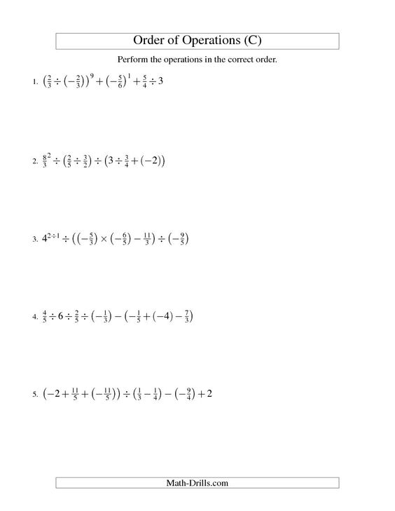 Order of Operations with Fractions Six Steps Including Negative – Negative Fractions Worksheet