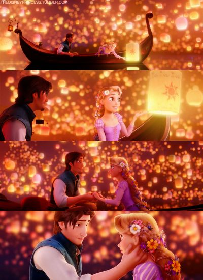 A magical animated scene,  Rapunzel and Flynn - Tangeled