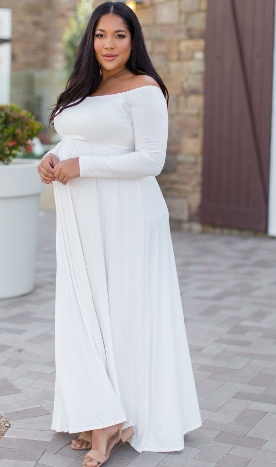 White Plus Size Maternity Maxi And Midi Dresses Plus Size Long Dresses Elegant Maternity Dresses White Maternity Dress Long