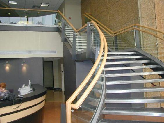 http://www.ireado.com/modern-stair-railings-complete-your-home/ Modern Stair Railings, Complete Your Home : A Curved Glass Handrail Modern Stair Railings