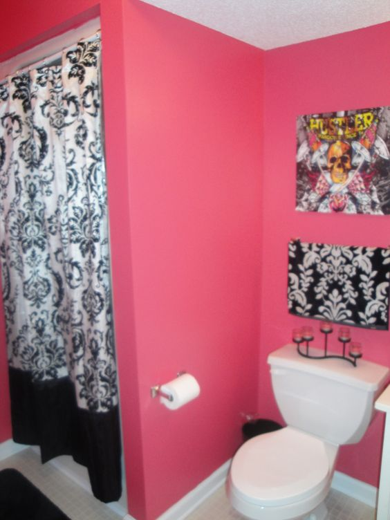 Love The Hot Pink And Black For Girls Bathroom Maybe