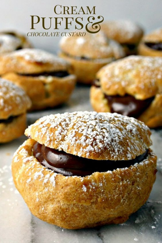Cream Puffs with Chocolate Custard