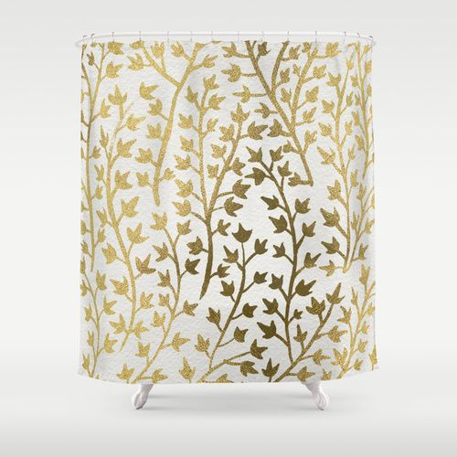Gold Ivy Shower Curtain