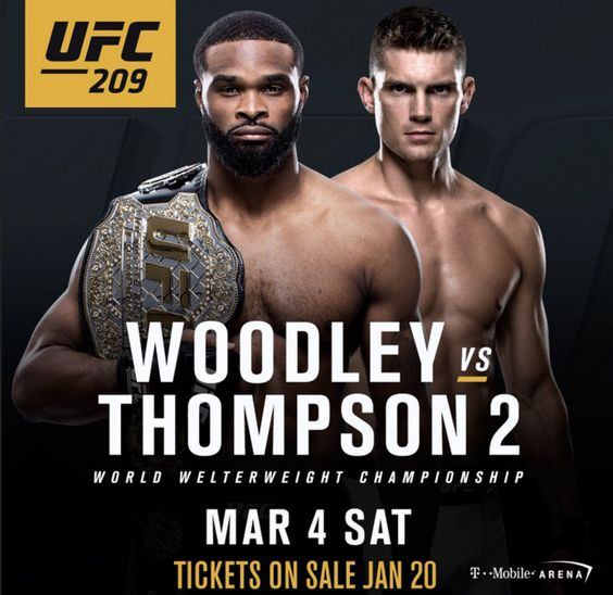 The UFC has put together a stacked card for its UFC 209 event this Saturday, March 4, in Las Vegas. In the main event, welterweight champ Tyron Woodley handles Stephen Thompson in a rematch of their November 2016 draw at UFC 205, which was one of the most competitive and compelling battles of the year.