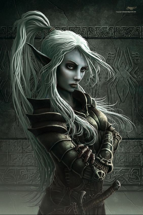 drow, dark elf, female elf, elves, dark, white hair, armor, forgotten realms, fantasy elves, fantasy, epic, cool, tale, legend, myth, story,