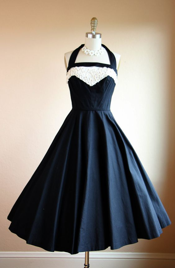 1950s Dress Vintage 50s Dress Black White Halter by jumblelaya