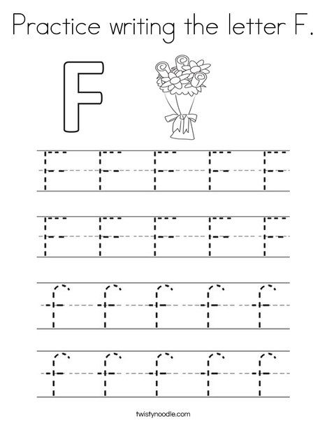 Practice writing the letter F Coloring Page - Twisty Noodle ...