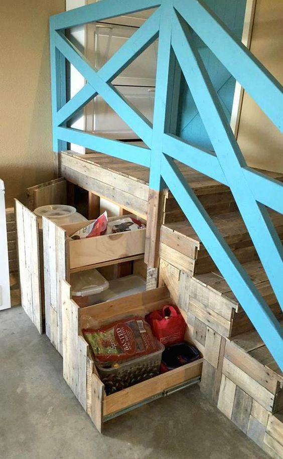 Garage Stairs Makeover With Pallets: