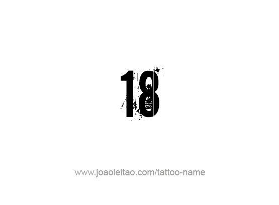 Desenho de Tatuagem do Número 18 Dezoito
