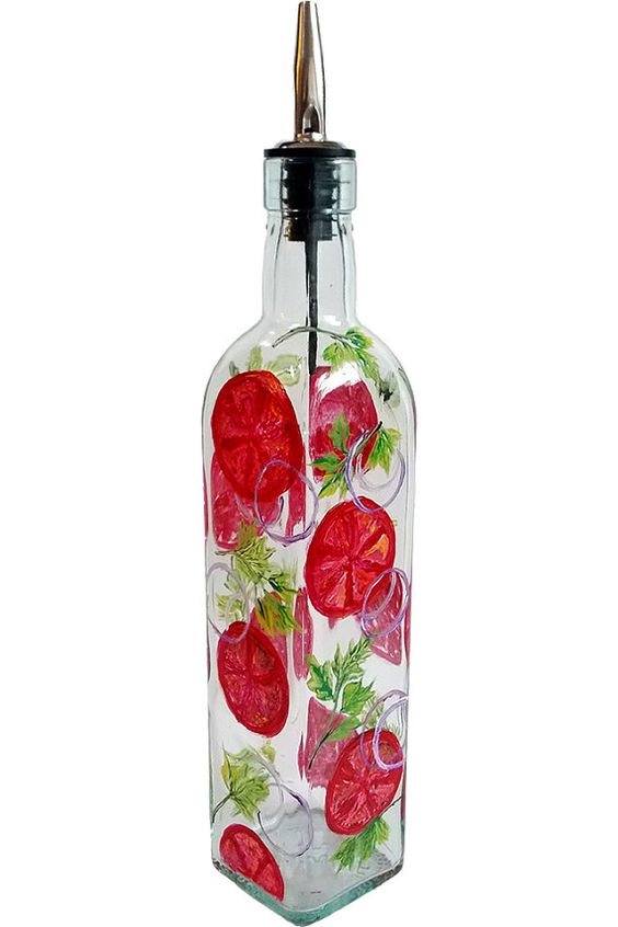 Painted Glass Bottles Olive Oil Dispenser And Red Tomato