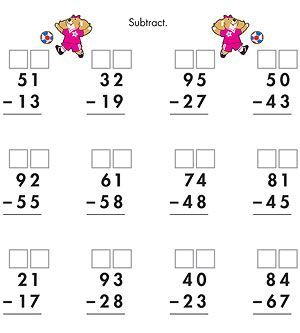 FREE MATH PRINTABLE~ 2-digit subtraction with regrouping worksheet ...