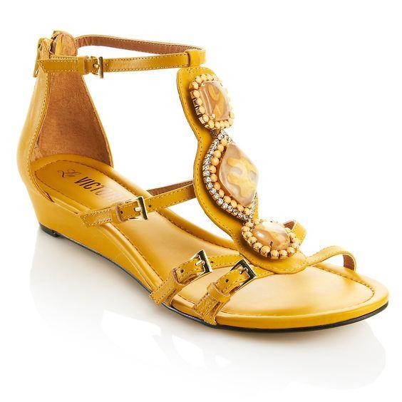 La Victoire Leather Jeweled Sandal at HSN.com at HSN.com
