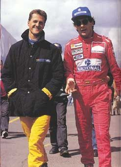 Hope Schumacher makes a full recovery. F1 legend. Picture: Michael Schumacher and Ayrton Senna