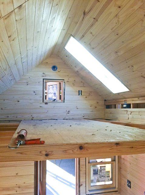 Sleeping loft loft and skylights on pinterest for Tiny house with 2 sleeping lofts
