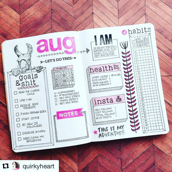 "I'm crying  #goalsandshit. Amazing. And that llama? Camel? Alpaca? So awesome. Nice work @quirkyheart! #Repost @quirkyheart (via @repostapp) ・・・ I'm calling this my monthly ""dashboard"". I track most things weekly in my planner so I just wanted something to bring everything together in a ""month at a glance"" view. I tagged the image with sources for the stamps I used  #bulletjournalnewbie #bulletjournal #bujo #bulletjournaljunkie #bujojunkie #bulletjournaling #stamping #stamps #doodl..."