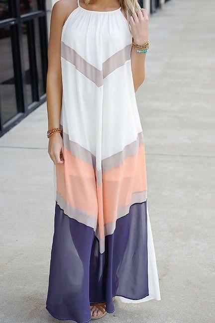 Chevron colorblock maxi dress