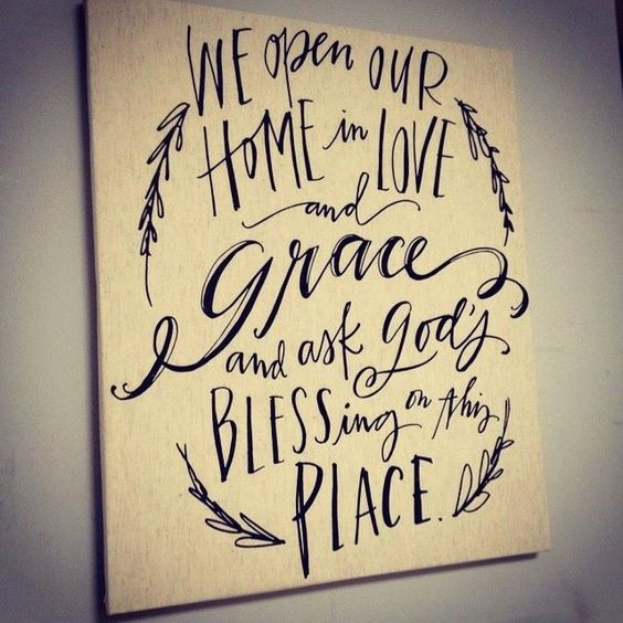 """Love & Grace Tea Towel 25"""" W x 29 1/4"""" L Whether you use them for drying dishes, as table napkins, packing a basket, or a lovely gift, this tea towel shares a beautiful message of God's grace & our gratitude. Message reads, We open our home in love and grace and ask God's blessing on this place. Size 25""""W x 29 1/4""""L. 86% Cotton, 14% linen. Machine wash cold, tumble dry on low. Made in India. Price: $22.00  Order at  http://www.mymaryandmartha.com/shop/productdetail.aspx?prod=60116"""