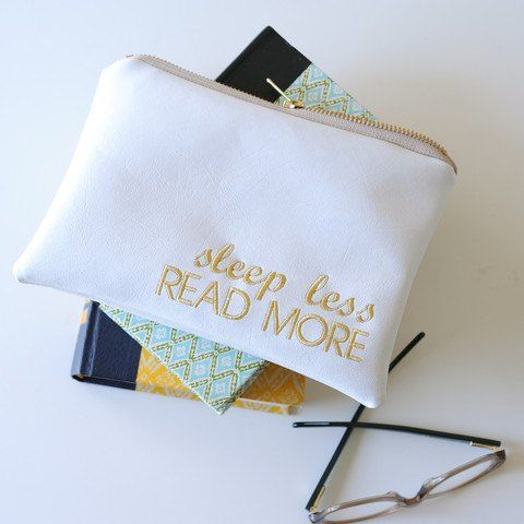 """""""sleep less read more"""" pencil pouch from Lucy Jane"""