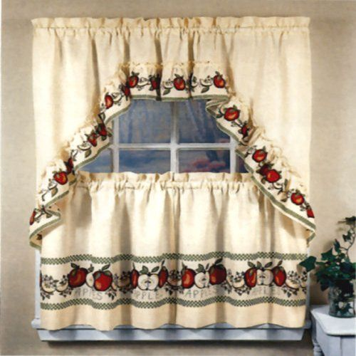 Curtains Ideas apple curtains for kitchen : 36-inch Length Red Delicious Apple Print Country Kitchen Curtain ...