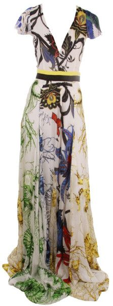 Roberto Cavalli. Deep V Print Maxi Dress