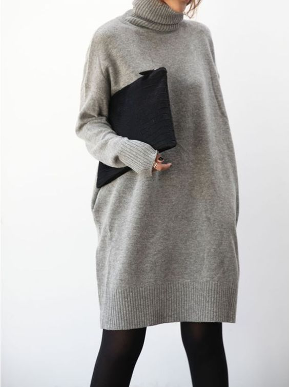 Grey oversized sweater dress & clutch, chic style inspiration: