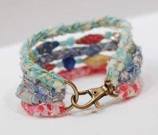 Fabric & Beads Bracelet - Tutorial - Betsy Veldman - PTI February 2013 Release Love it! Must try! #ecrafty