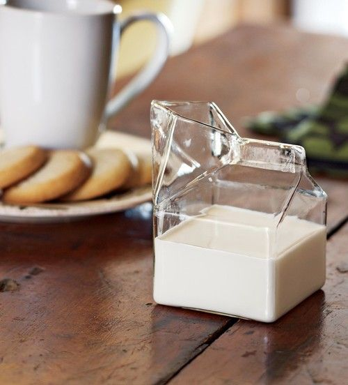 Glass milk carton style creamer.