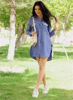 Bayan Gömlek 3027 Mavi